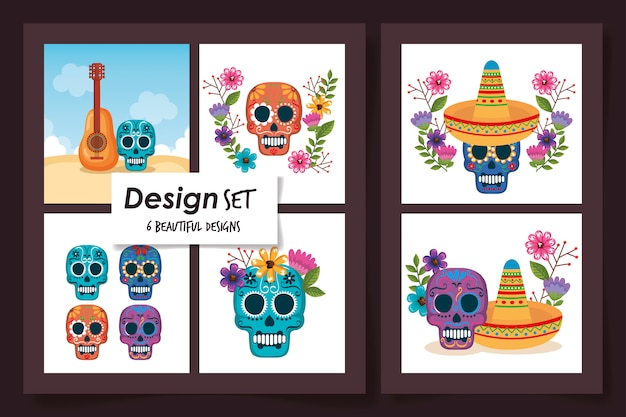 Designs of skulls with food mexico traditional