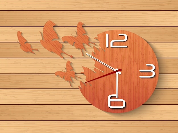 Desing of wall clock from wood