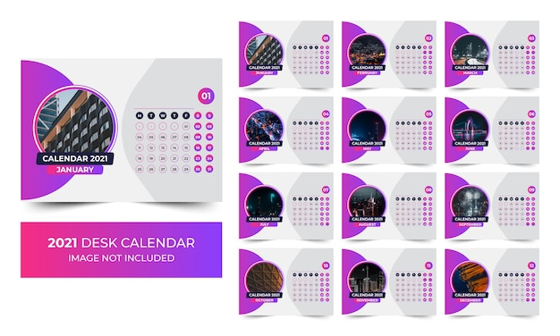 Desk 2021 calendar template