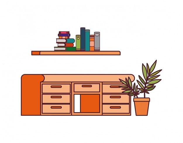 机と本のスタックを棚