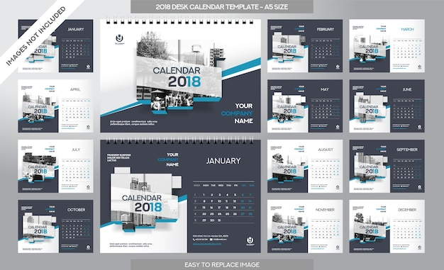 Desk calendar 2018 template - 12 months included - a5 size - art brush theme