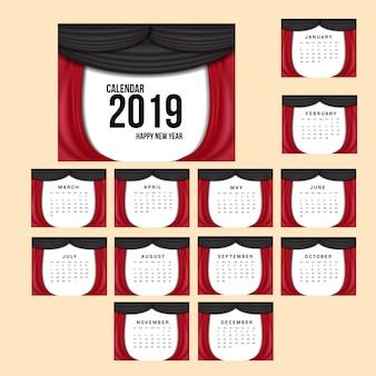 Настольный календарь 2018 шаблон с красной и черной волной