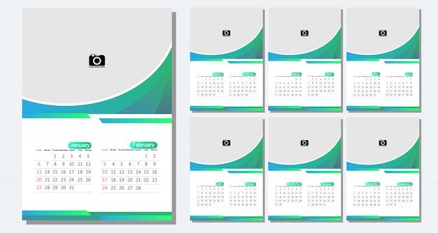 Desk calendar 2019 template - 12 months included  - art modern gradient theme