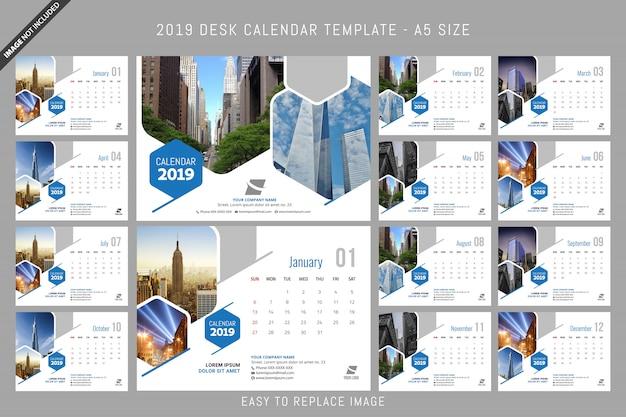 Desk calendar 2019 template a5 size