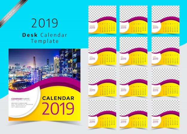 Desk calendar 2019 template design