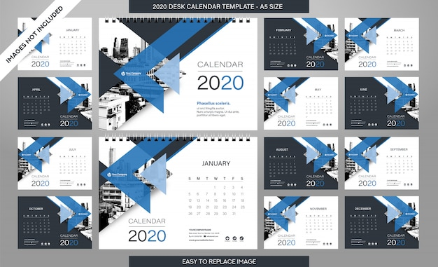 Desk calendar 2020 template - 12 months included