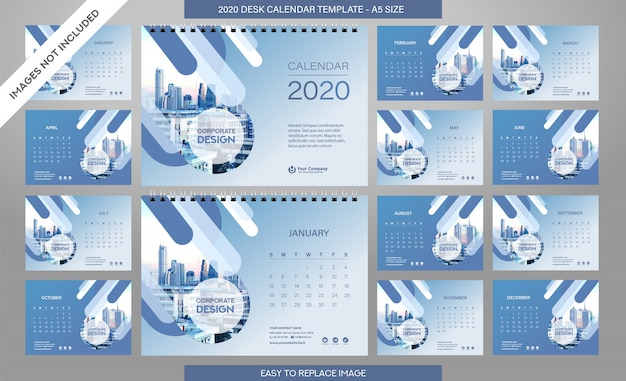 Desk calendar 2020 template  all months included