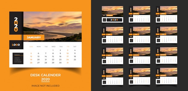 Desk calendar  for 2020 template