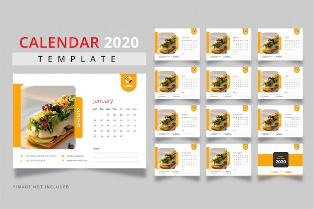 Desk calendar 2020 template