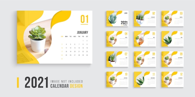 Desk calendar for 2021, clean and minimal desk calendar design 2021