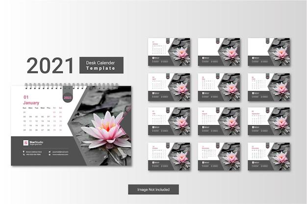 데스크 캘린더 2021 크리 에이 티브 최소한의 템플릿 디자인