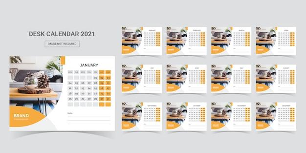 Desk calendar 2021 planner template