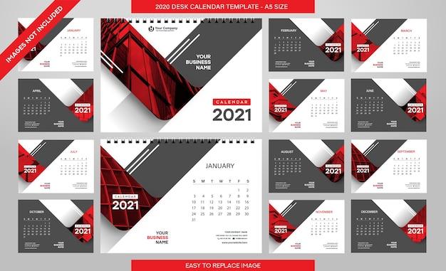 Шаблон настольного календаря на 2021 год - 12 месяцев в комплекте - размер a5