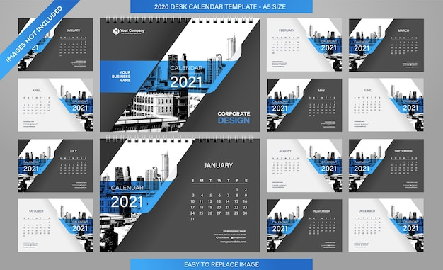 데스크 캘린더 2021 템플릿-12 개월 포함