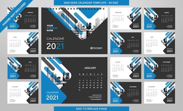 Шаблон настольного календаря на 2021 год - 12 месяцев в комплекте