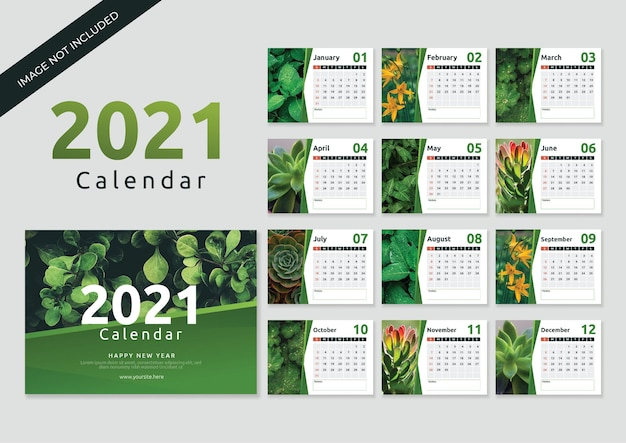 花のコンセプトを持つ卓上カレンダー2021テンプレート