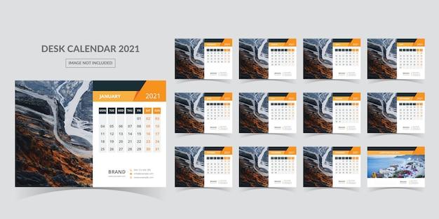 Desk calendar for 2021. week starts on monday