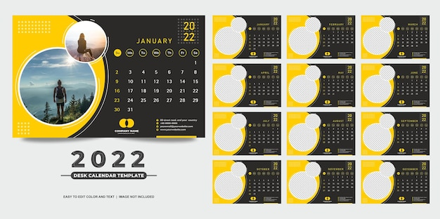 黄色と黒のデザインの卓上カレンダー2022テンプレート