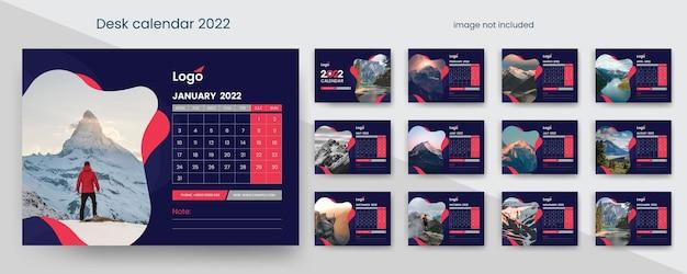 빨간색과 어두운 창조적 요소가 있는 데스크 캘린더 2022