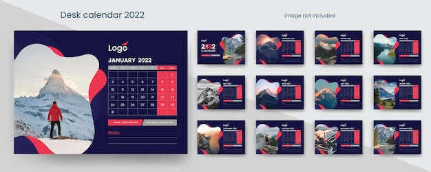 Desk calendar 2022 with red and dark creative element
