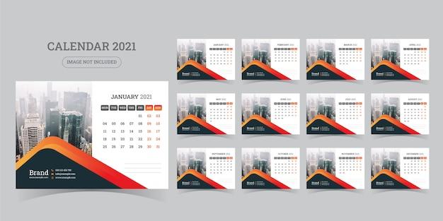 Desk calendar design 2021 template set of 12 months, week starts monday,