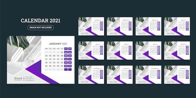 卓上カレンダーのデザイン2021テンプレート12か月のセット、週は月曜日に始まり、