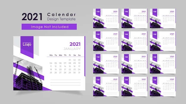 Desk calendar design 2021