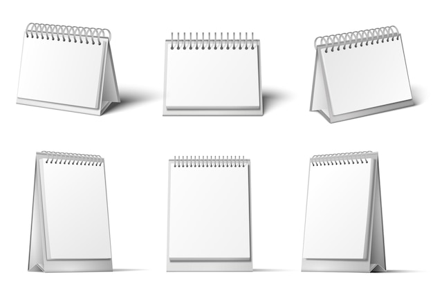 Desk calendar mockup. blank calendars stand, table diary reminder and realistic 3d white template set.