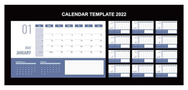 卓上カレンダーまたはプランナー2022