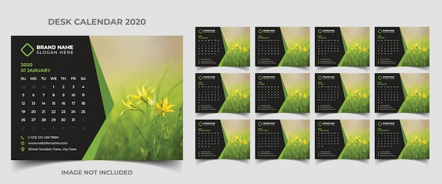 Desk calendar template 2020