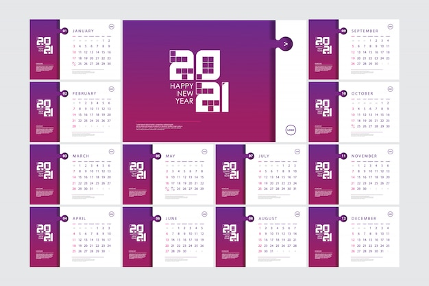 Desk calendar template for 2021 with gradient colors