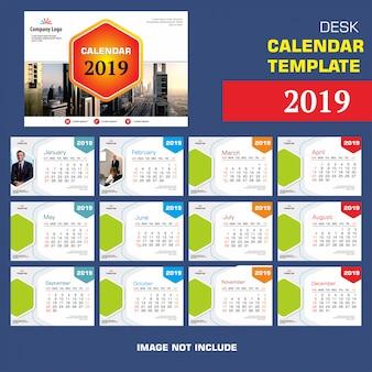 Desk calendar template design 2019