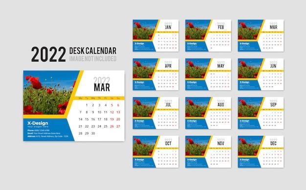 A desk calendar template for the year 2022