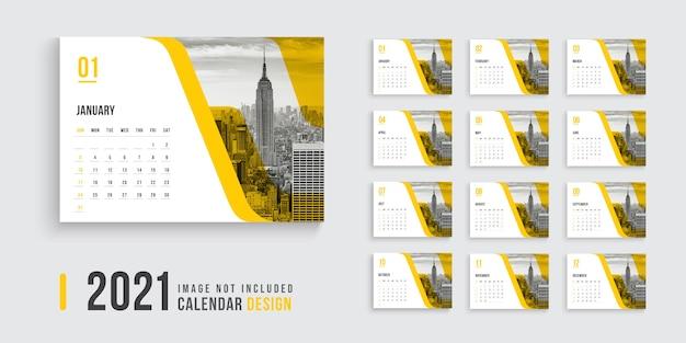 Desk calendar with orange color shapes