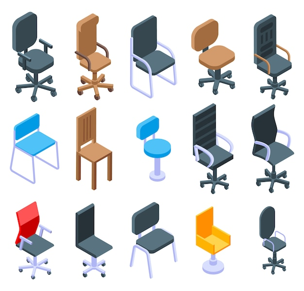 Desk chair icons set, isometric style
