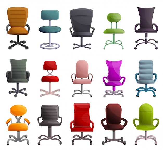 Desk chair set, cartoon style
