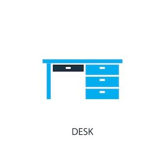책상 아이콘입니다. 로고 요소 그림입니다. 2가지 컬러 컬렉션의 데스크 심볼 디자인. 간단한 책상 개념입니다. 웹 및 모바일에서 사용할 수 있습니다.