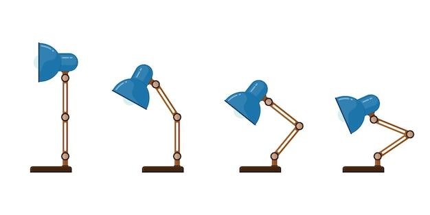 책상 램프 아이콘입니다. 다양한 위치의 테이블 램프.