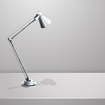 Desk lamp on table. white empty  background. object and equipment, electricity spotlight,