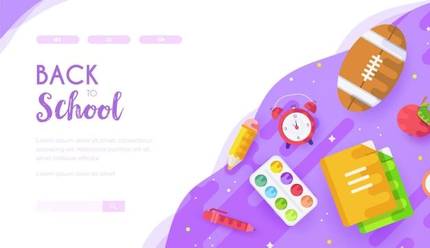 Desk of pupil, schoolchild, student with copybooks, watercolours, pencil, alarm clock, pen, apple.