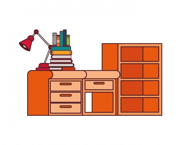 Desk and shelving with stack of books