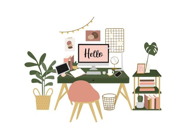 自宅のデスクスペース、在宅勤務、フリーランサーのホームオフィス。手描きの平らなイラスト。