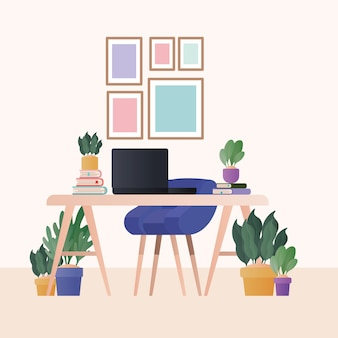 青い椅子のラップトップと部屋のデザインの植物、家の装飾インテリアリビングの建物のアパートと住宅のテーマのデスク