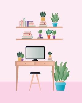 部屋のデザインの椅子のコンピューターと植物が付いている机、家の装飾、インテリア、リビング、建物、アパート、住宅のテーマ