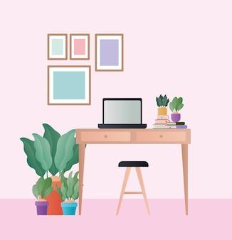部屋のデザインの椅子のラップトップと植物が付いている机、家の装飾インテリアリビングビルディングのアパートと住宅のテーマ