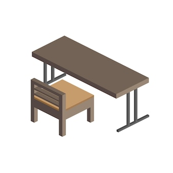 Desk with chairs in isometric style. school desk. isolated Premium Vector
