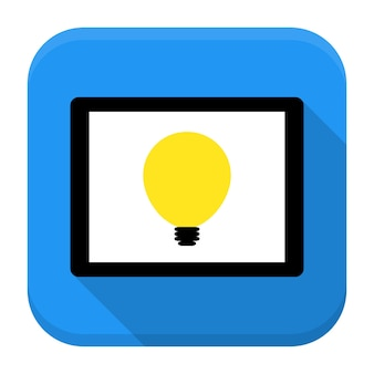 Desk with lamp idea app icon with long shadow. flat stylized square app icon with long shadow