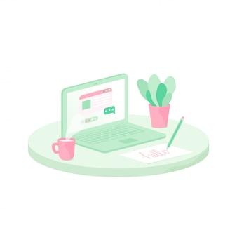 노트북, 커피와 화분의 컵 책상. 플랫 스타일의 프리랜서 직장 그림입니다.