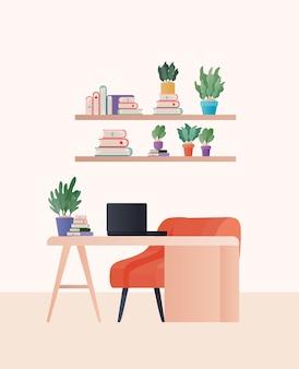 オレンジ色の椅子のラップトップと部屋のデザインの植物、家の装飾インテリアリビングビルディングのアパートと住宅をテーマにしたデスク