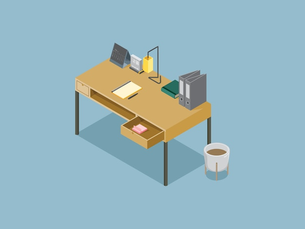 Desk working graphic isometric on blue sky color